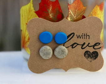 Blue and Granite Polymer Clay Gum Drop Earring Set
