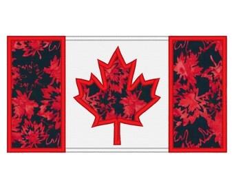 Canada Flag Applique Embroidery Machine Design