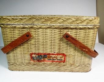 Advertising Tin Basket Weave Lithograph Picnic Basket FlavorKist Vanilla Creme Sandwich label, vintage storage