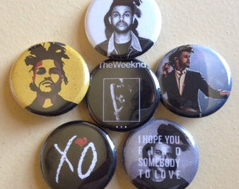 "The Weeknd pin back buttons 1.25"" set of 6"