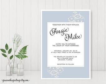 Wedding Invitations | Wedding Invite | Reception Cards | Engagement Cards | Vow Renewal Invitation | Classic Floral Wedding Invite | W29001