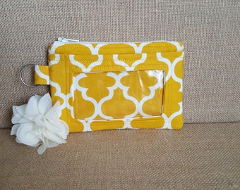 Gold / Yellow Quatrefoil ID Wallet / Keychain ID Wallet / ID Holder