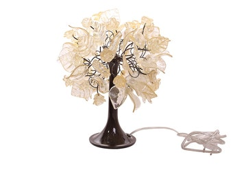 Table lamp Decor with Gold color flowers and leaves and metal wires, lighter for desk or bedside table.