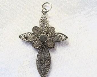 Sterling Filigree Cross Pendant, Sterling Silver Filigree Cross, Wire Work Cross Pendant, Cross Necklace
