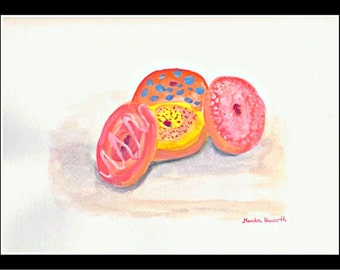 SALE Donuts art Original watercolor painting Doughnuts painting Donuts watercolor Painting Desser art Gift for her Wall art donuts art