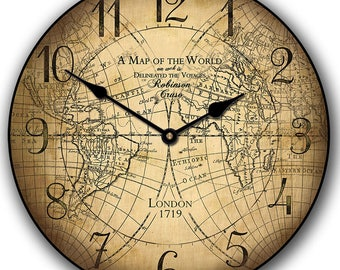 Robinson Cruso Map Wall Clock