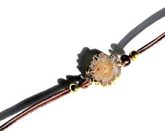 Druzy Bracelet on Brown Leather Cord / Amethyst Stalactite Bracelet / Rose de France Lavender Druzy Bracelet