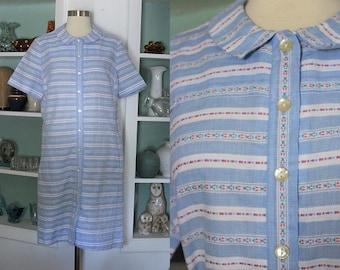 1960s Shift Dress / Vintage 60s McGlen Cotton Cornflower Blue White and Pink Floral Striped Shift Dress / House Dress/Casual Day Dress - M/L
