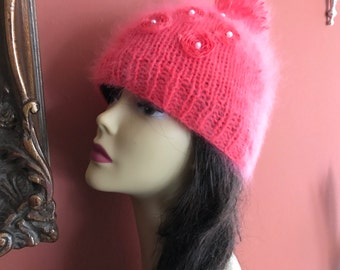 NEW!!!! Sparkling jeweled embroidered beanie/soft 100% French angora rabbit hair/free shipping