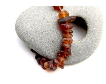 Sea Beach Glass Beads, Beer Bottle Brown, Real Sea Glass Beads