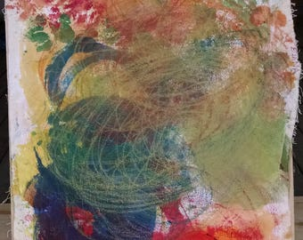 Yellow Red Blue Abstract Painting - Artist with Autism - Original Oil Pastel Acrylic on Canvas