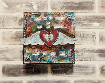 Mixed Media Heart With Wings Canvas..Colorful Mixed Media..Original Mixed Media Canvas..Motivational Art..Whimsical Art..Fun Art