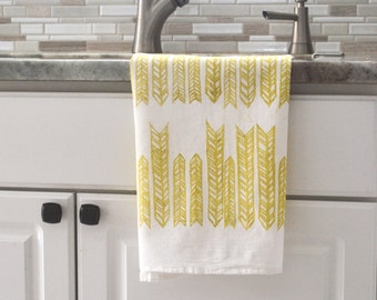 Hand printed dish towel, Arrow dish towel, Hand printed flour sack towel, block print towel, hostess gift, gift for her, gift for mom,yellow
