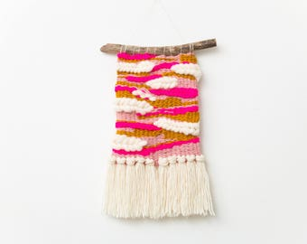 Woven Wall Hanging in Pink, Mustard Yellow and White - Texture Wall Art - Pink Woven Tapestry
