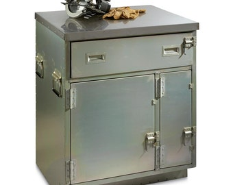 Brand New and Free Shipping!!!  US Surplus Mobile Metal Crate Cabinet Apothecary Workbench Chest Table Toolbox