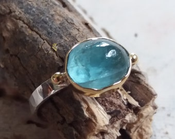 18k Gold and Silver Apatite Ring