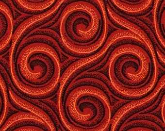 Shweshwe Fabric--African Fabric--South African Cotton Fabric--Da Gama Three Cats--Ethnic Fabric--Red Whirlpools--Fabric by the HALF YARD