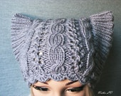 Knit cat hat, grey gray cat ear hat, women's knitted hat, knit cable beanie, animal hat, hat with horns, grey gray pussy hat, winter hat