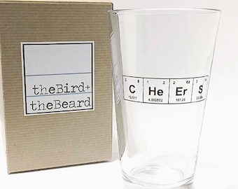 "Father's Day Pint Glass / College Grad Gift / Periodic Table of the Elements ""CHeErS"" 16 oz Beer Glass / Etched Barware / Gift for Dad"