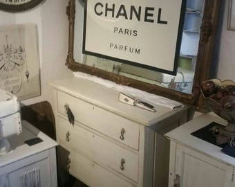 Large Ornate Wall Mirror - with a Chanel Inspired Stencil