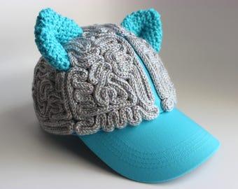 Brain Hat - Pussy Hat Sparkly Gray Matter Blue Cat Ears Baseball Cap