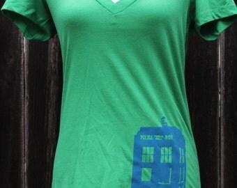 Doctor Who TARDIS V neck Women's Screenprinted Shirt