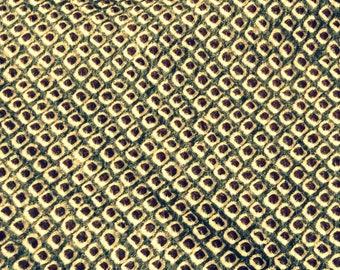 shibori PESTO // Vintage Kimono Silk fabric panel // Japanese Tie Dye GREEN black & white // Excellent condition // Narrow 7 x 78 inches