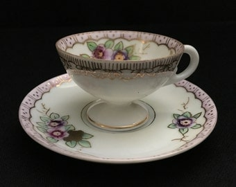 Vintage Occupied Japan - Floral Tea Cup n Saucer Bone China set with gold trim   (LDT6)