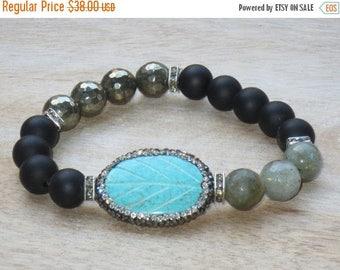 ON SALE Boho CZ Encrusted Turquoise Leaf w/ Pyrite Labradorite Onyx Gemstone Bead Layering Stretch Bracelet