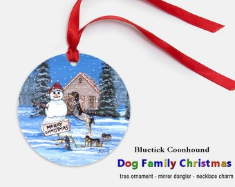 Bluetick Coonhound Tree Ornament Christmas Mirror Dangler