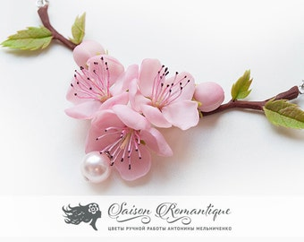 Necklace Sakura Cherry Blossom Peach - Polymer Clay Flowers - Mothers Day Gift for Women Necklace Pink Gift For Her Flower Sakura Pendant