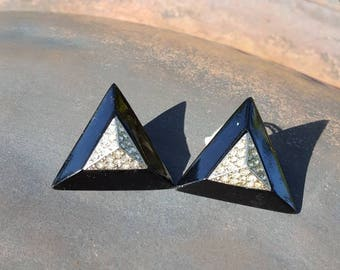 Vintage Triangle Shape Rhinestone Earrings