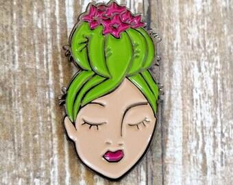 Desert Dreamer Cactus Lady enamel flair lapel pin
