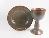 Chalice and paten  - chalice and paten communion set - brown communion set - liturgical ware - communion ware W215