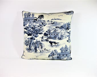 Navy Blue and Cream Toile Pillow Cover 18 x 18