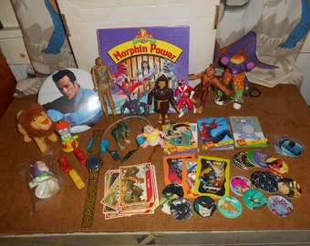 Totally 90's Lot of over 23 Toys and Collectables POWER RANGERS, Jurassic Park, Pogs, Trading Cards and more!