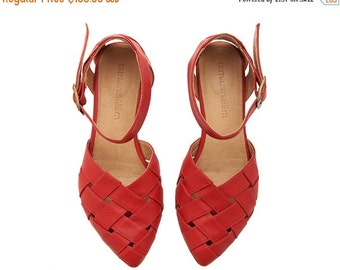 ON SALE Red Leather handmade flat Sandals / Sophie super comfertable sandals  by Tamar Shalem