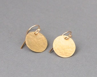 Textured Brass Earrings,  Small Disc Earrings, Gold Filled Ear Wires, Hammered Metal Jewelry, ShillyshallyJewelry, Minimalist, Handmade