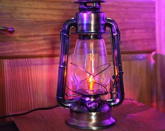 Copper-Bronze Electric Hurricane Lantern Table Lamp