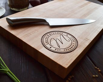"20""x12"" Personalized Chopping Block, Engraved Edge Grain Hardwood, Professional Quality, Christmas, Anniversary, Wedding Gift"