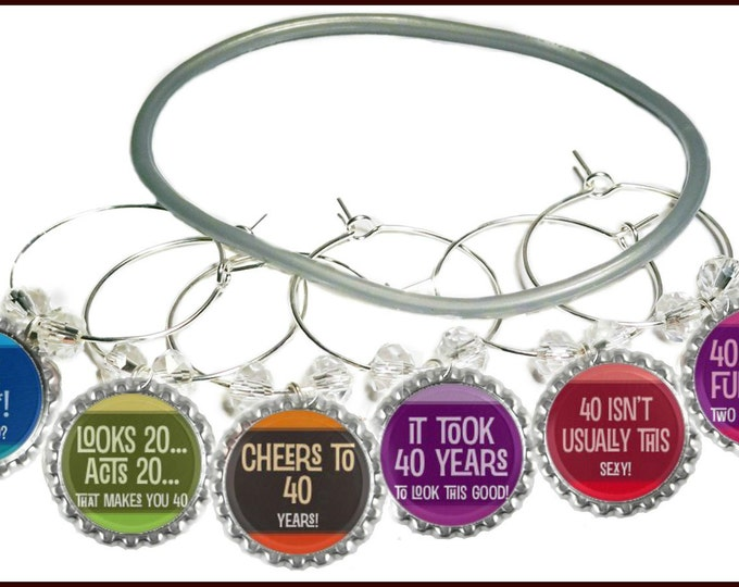 40th Birthday Bottle Cap Wine Charms - Pack of 6