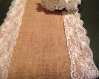 burlap lace runner,table runner,wedding tables