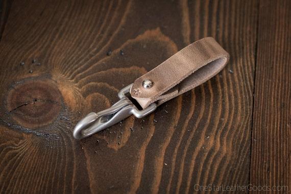 Key belt lanyard / keychain Horween Chromexcel leather - J-hook, natural CXL / nickel