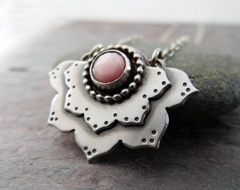 Pink Opal Lotus Flower Pendant // hand fabricated sterling silver flower with pink stone cabochon || metal smith pendant (3905)