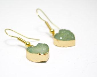 Druzy Earrings, Best Friend Gift, Bridesmaid Gift, Stocking Filler Gift, Sister Gift, Green Druzy Earrings, Heart Earrings, Green Heart