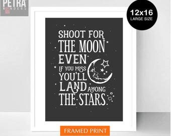 Shoot for the moon, Framed Print Wall art. Inspirational and Motivational Quote / Nursery/ playroom /kids room wall decor. Gift print..