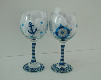 Nautical Wine Glasses,  His & Her Glasses Nauti Girl Bad Buoy,  Beach Glasses,  Hand Painted Wine Glasses, Anchor Glasses