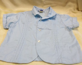 Vintage Blue Diaper Shirt, Mid Century Baby Boy Shirt, S