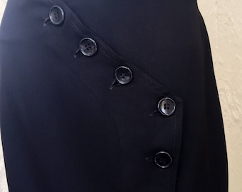 Beautiful 1940's Black Gabardine Button Up Skirt