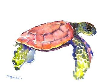 Sea Turtle painting, original watercolor painting,  blue nautical wall art, light blue minimalist